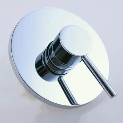 Modern Round Style Solid Brass 1 Outlet Mixing Shower Valve with Cover Plate in Polished Chrome