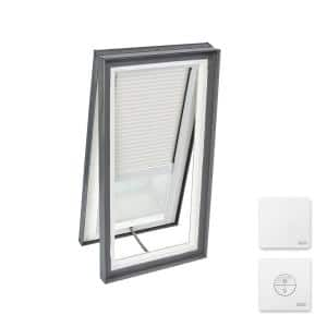 30-1/2 in. x 46-1/2 in. Venting Curb Mount Skylight w/ Laminated LowE3 Glass & White Solar Powered Light Filtering Blind