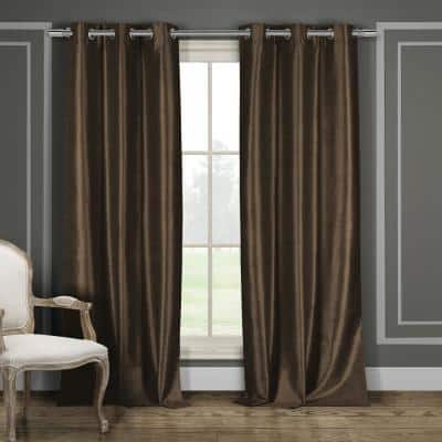 Chocolate Thermal Grommet Blackout Curtain - 38 in. W x 96 in. L