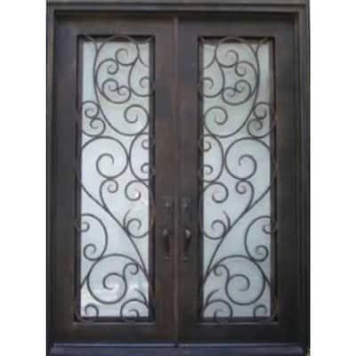 73-1/2 in. x 81 in. 2-Panel Right-Hand/Inswing 2-Lite Clear Matte Bronze Prehung Iron Front Door