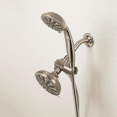 6-spray 5 in. Dual Shower Head and Handheld Shower Head in Brushed Nickel