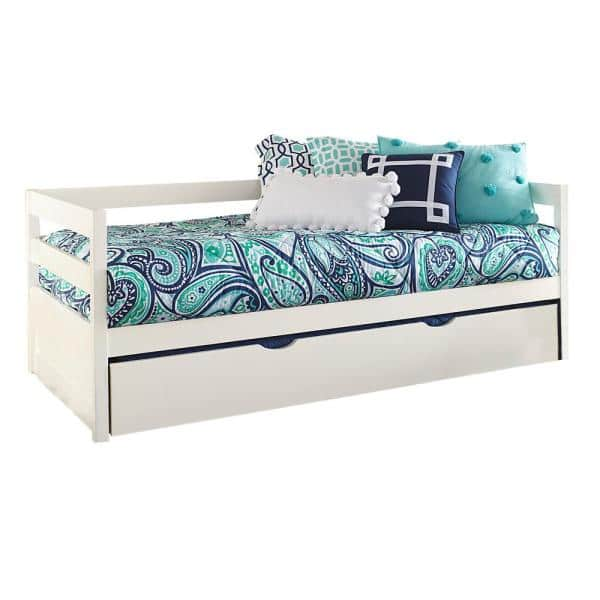 Hillsdale Furniture Caspian White Twin Daybed with Trundle | The Home Depot