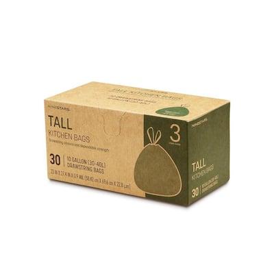 8 Gal. to 10 Gal. Tall Kitchen Drawstring Closure Trash Bags (30-Count)