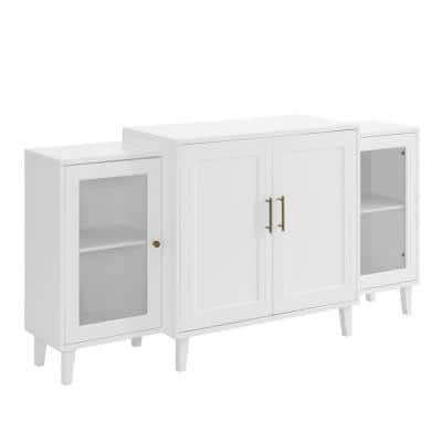 62 in. White Tiered Modern Sideboard 4-Door