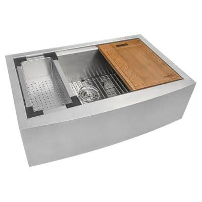 16-Gauge Stainless Steel 33 in. Single Bowl Farmhouse Apron Workstation Kitchen Sink