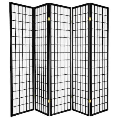 6 ft. Black 5-Panel Room Divider