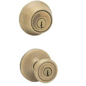 Tylo Antique Brass Exterior Entry Door Knob and Double Cylinder Deadbolt Combo Pack