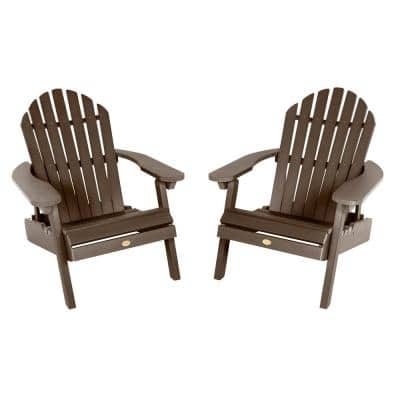 Hamilton Weathered Acorn Folding and Reclining Plastic Adirondack Chair (2-Pack)