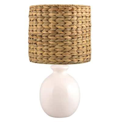 21 in. White Smooth Round Vase Ceramic Table Lamp