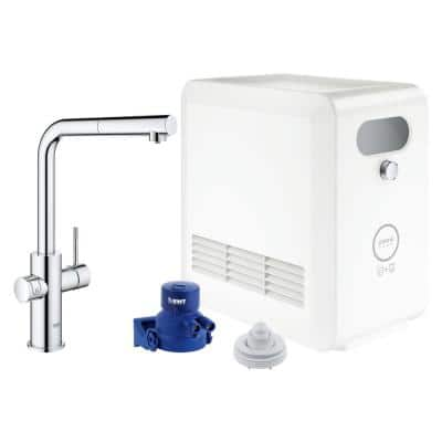 Blue Professional Starter Kit Single-Handle Beverage Faucet with Pull-Out Spray in StarLight Chrome