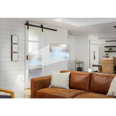 Farmhouse Series 36 in. x 84 in. 4-Lite Mistlite Glass White Primed Wood Interior Sliding Barn Door with Bronze Hard
