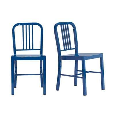 Kipling Mariner Blue Metal Dining Chair (Set of 2) (15.94 in. W x 32.67 in. H)