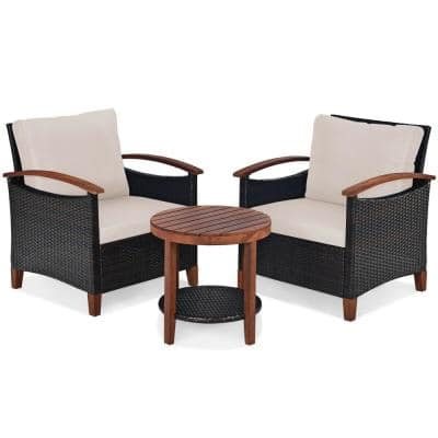 3-Piece Solid Wood Outdoor Serving Bar Set with Beige Cushions of Frame Patio Rattan Furniture Set