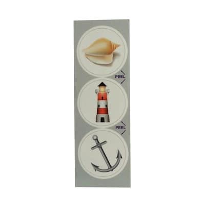 Nautical Decorative Bathroom Sink Stopper Laminates (Set of 3)