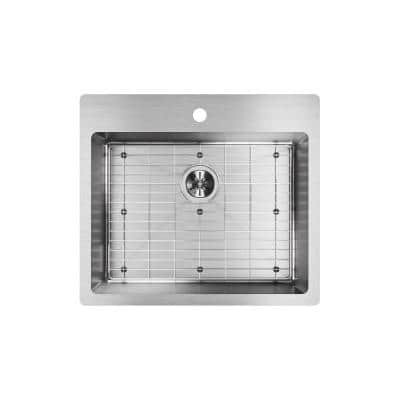 Crosstown Drop-In/Undermount Stainless Steel 25 in. 1-Hole Single Bowl Kitchen Sink with Bottom Grid