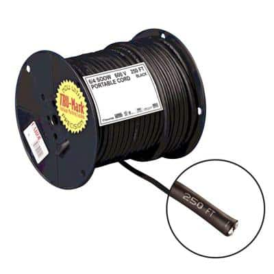 250 ft. 6/4 Black Portable Power SOOW Electrical Cord
