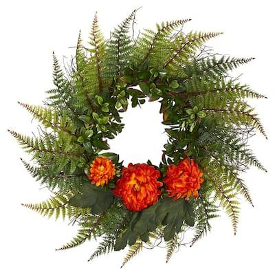 23 in. Assorted Fern and Orange Chrysanthemum Artificial Wreath