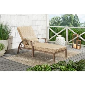 Geneva Brown Wicker Outdoor Patio Chaise Lounge with CushionGuard Toffee Trellis Tan Cushions