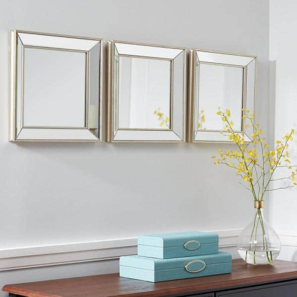 Stylewell Small Square Champagne Beveled Glass Classic Accent Mirror Set Of 3 14 In H X 14 In W H5 Mh 263 The Home Depot