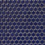 Bliss Edged Hexagon Midnight Blue 12 in. x 12 in. x 10 mm Polished Ceramic Mosaic Tile