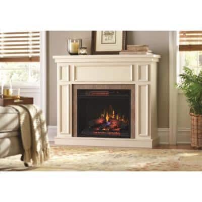 Granville 43 in. Convertible Mantel Electric Fireplace in Antique White with Faux Stone Surround