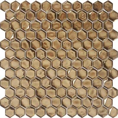10 pack 10.8-in x 11.5-in Glossy Gold Hexagon Honed Glass Mosaic Floor and Wall Tile (8.63 Sq ft/case)