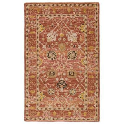 Ahava Hand Tufted Pink/Gold 9 ft. x 12 ft. Oriental Area Rug