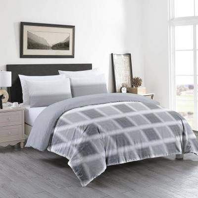 GOTS Certified Reversible Print 3-Piece Grey Check 100% Organic Cotton King Duvet Cover Set