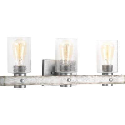Gulliver Collection 3-Light Galvanized Finish Clear Seeded Glass Coastal Bath Vanity Light