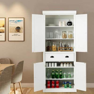30in Kitchen Cabinet Pantry Organizers Cupboard Freestanding W/Adjustable Shelves White