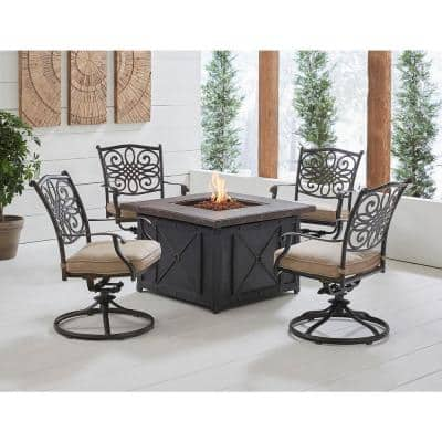 Traditions 5-Piece Aluminum Patio Fire Pit Conversation Set with Natural Oat Cushions, Swivel Rockers and Fire Pit Table