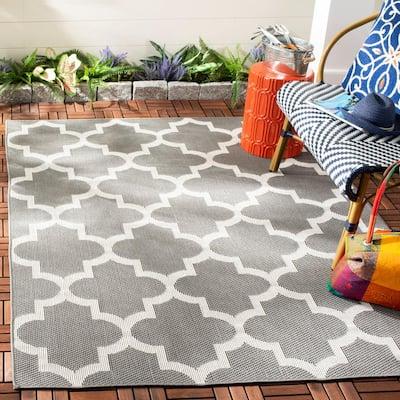 Bermuda Gray/Ivory 8 ft. x 10 ft. Geometric Indoor/Outdoor Area Rug