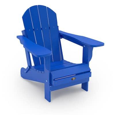 Recycled Royal Blue Folding Plastic Adirondack Chair
