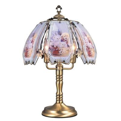 23.5 in. Cats Brushed Gold Touch Lamp