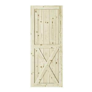 33 in. x 84 in. Half-Cross X-Brace Unfinished Knotty Pine Interior Barn Door Slab