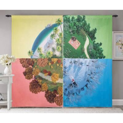 Rod Pocket Blackout Curtains 52 in W x 84 in L ,Season Landscape (2-Panel)