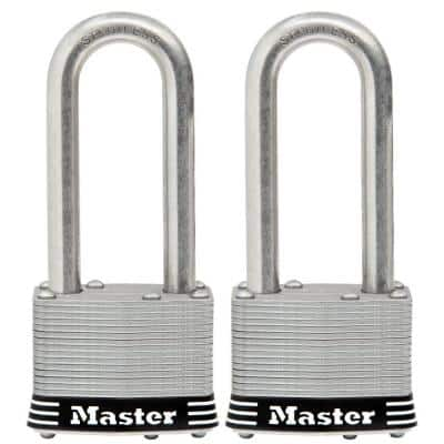 2in (51mm) Wide Laminated Stainless Steel Pin Tumbler Padlock with 2-1/2in (64mm) Shackle; 2 Pack