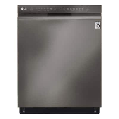 24 in. PrintProof Black Stainless Steel Front Control Built-In Tall Tub Smart Dishwasher with QuadWash, 3rd Rack, 46 dBA