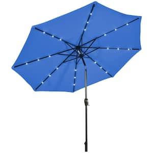 10 ft. Metal Market Solar LED Lighted Tilt Patio Umbrella in Navy with Crank