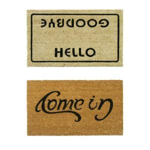 Rubber-Cal ''Welcome Go Away Mats'' - 2 Coir Outdoor Entryway Mats - 18'' x 30''