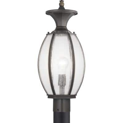 River Place Collection 1-Light Antique Bronze Clear Seeded Glass New Traditional Outdoor Post Lantern Light