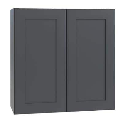 Navarre Onyx Gray Shaker Assembled Plywood 36 in. x 30 in. x 12 in. Stock Wall Kitchen Cabinet with Soft Close Doors