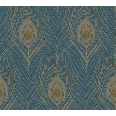 Strippable Prosperity Blue Feather Wallpaper