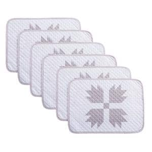 Bear Claw 19 in. x 13 in. Taupe Quilted Microfiber Placemat (Set of 6)