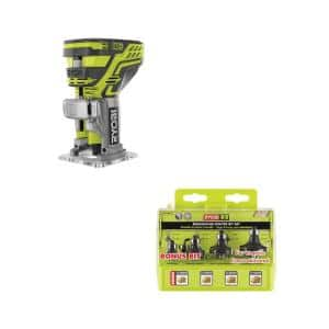 18-Volt ONE+ Cordless Fixed Base Trim Router with Roundover Router Bit Set (4-Piece)