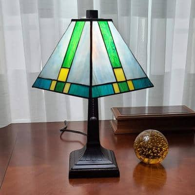 Tiffany 14.5 in. Green and Blue Table Lamp with Stained Glass Shade