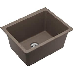 Quartz Classic Greige Quartz 25 in. Single Bowl Undermount Laundry Sink with Perfect Drain