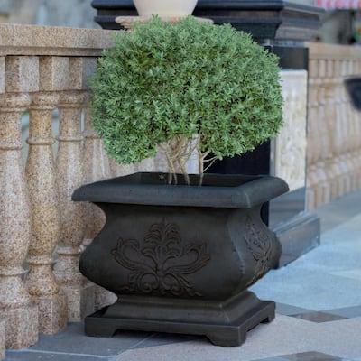 21 in. Cast Stone Fiberglass Square Bombe Planter in Charcoal