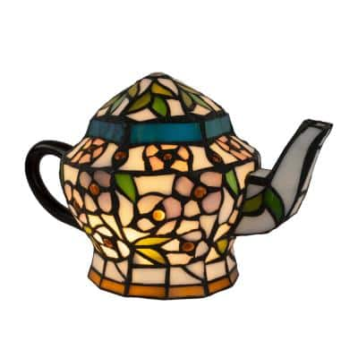 7 in. Multi-Colored Stained Glass Tiffany Style LED Teapot Lamp with Brown Metal Handle