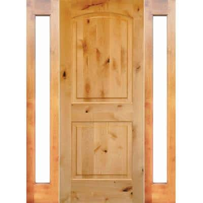 70 in. x 80 in. Rustic Unfinished Knotty Alder Arch-Top Right-Hand Double Full Sidelites Clear Glass Prehung Front Door